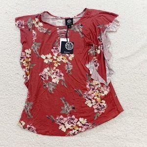Bobeau rust floral ruffle sleeve blouse NWT small
